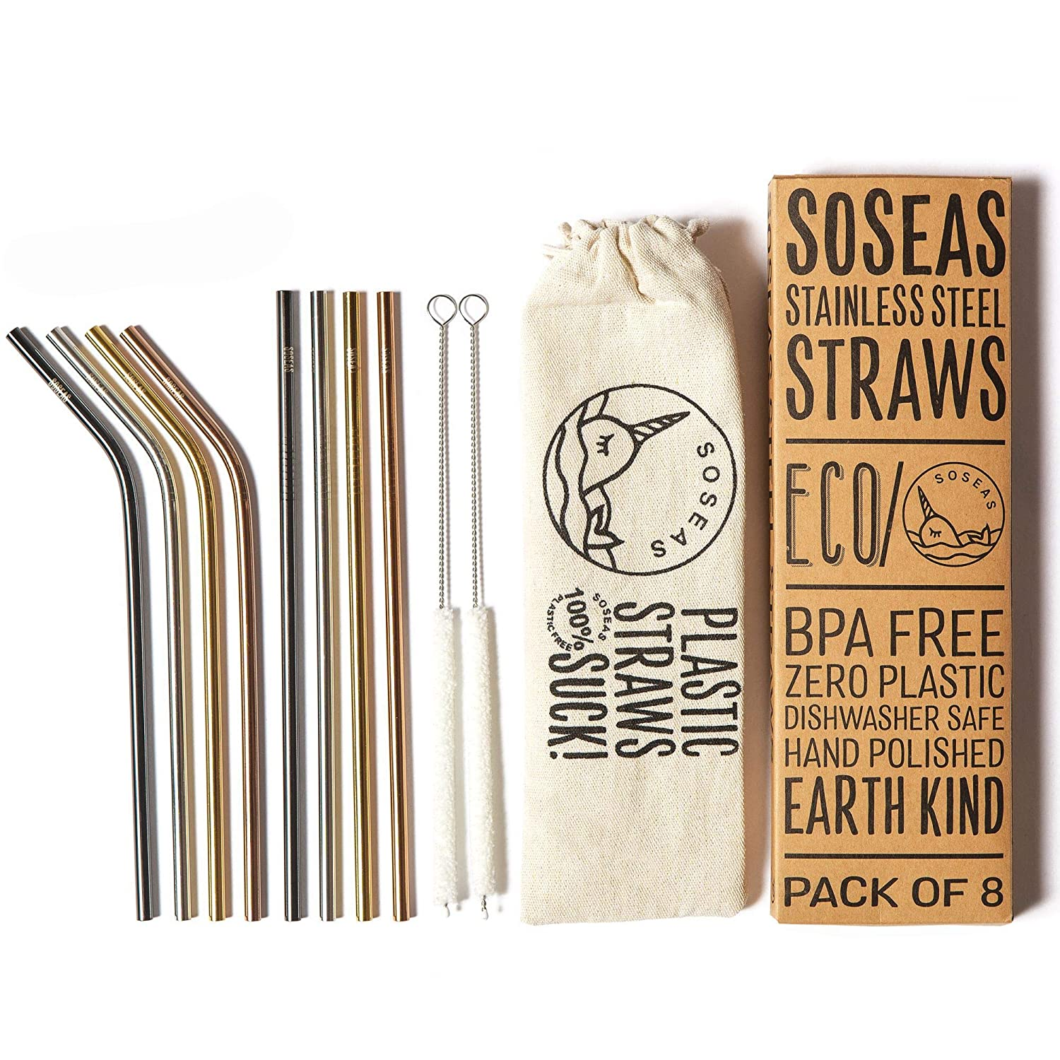 8 Pack Stainless Steel Eco Drinking Straws Reusable Metal Straws by Soseas Rose Gold Gold Silver and Black Plastic-Free with Cotton Cleaning Brushes and Linen Carry Case 4 Bent 4 Straight