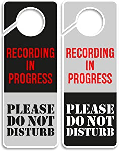CLEVER SIGNS Recording in Progress - Please Do Not Disturb Sign, Door Knob Hanger 2 Pack, Double Sided, Ideal for Using in Any Room.
