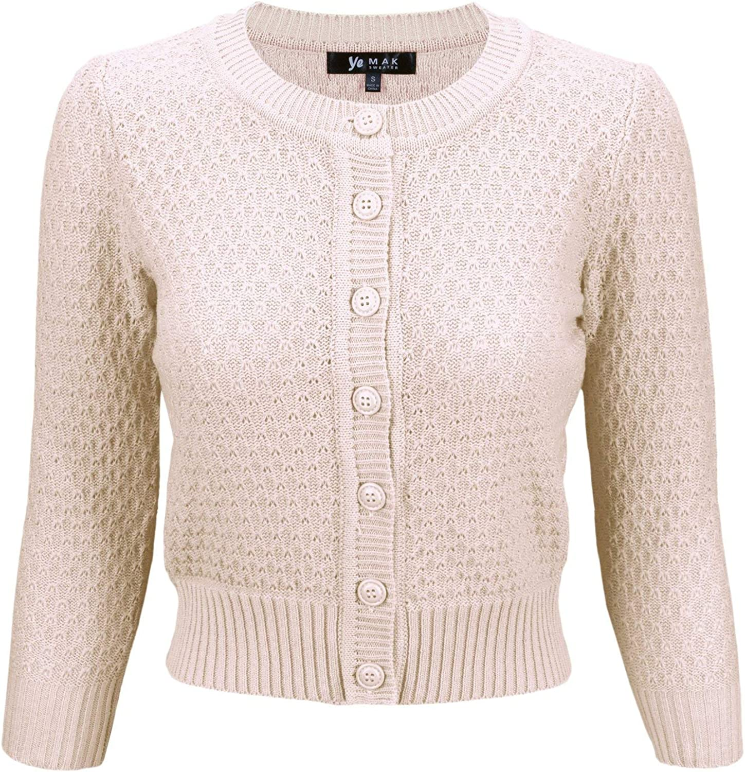 YEMAK Women's 3/4 Sleeve Crewneck Cropped Button Down Knit Cardigan Sweater (S-3X)