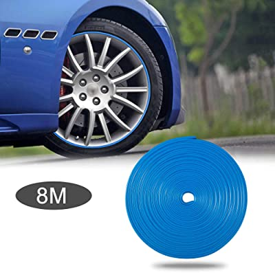 TOMALL 8M Car Wheel Hub Decorative Protection Ring Tire Sticker Guard Strip hub Anti-Collision Strip Wheel Hub Rubber Scratch Prevention (Blue): Automotive