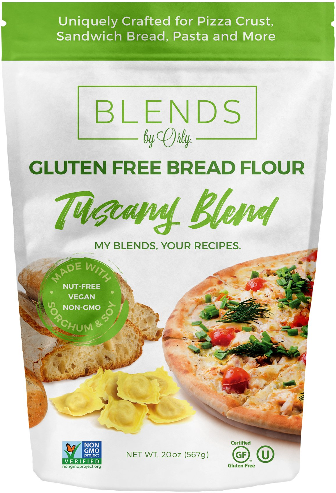 Blends by Orly Premium Gluten Free Bread Flour - Baking Flour for Gluten Free Bread, Gluten Free Pizza Crust, Gluten Free Burger Buns, Gluten Free Pasta & Gluten Free Focaccia - Tuscany Blend 20 OZ by Blends By Orly
