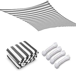 Yescom 19x13Ft 97% UV Block Rectangle Sun Shade Sail Outdoor Patio Pool Garden Yard Lawn Carport Cover Net Awning Canopy Gray+White