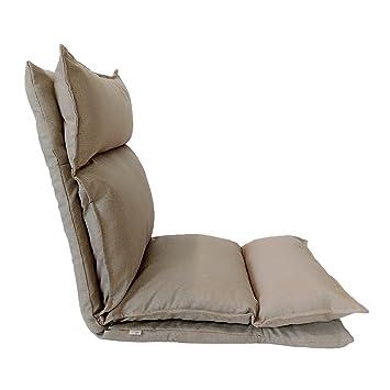 Rebecca Mobili Chaise De Sol Beige Mtal Polyester Relaxante Inclinable Salon Terrasse Balcon Cod