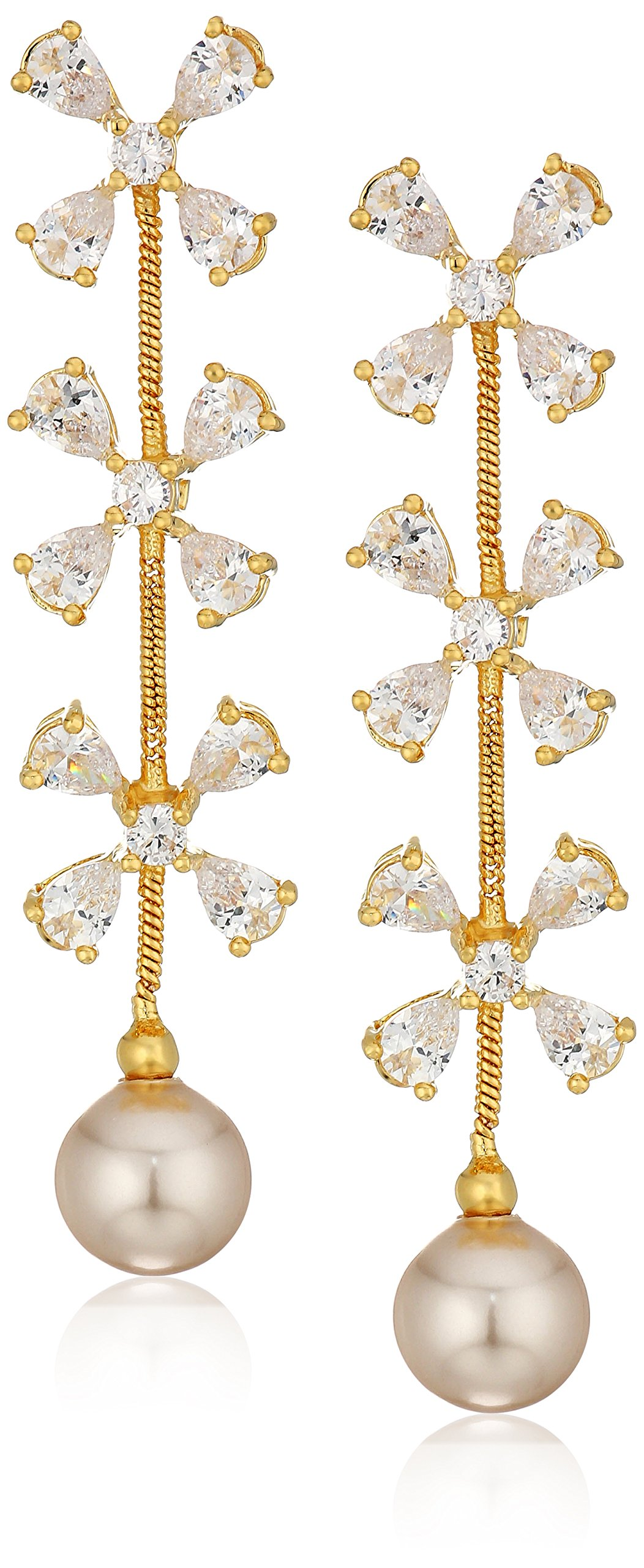 18k Gold Over Fine Silver Plated Bronze Simulated Pearl and Cubic Zirconia Drop Post Earrings