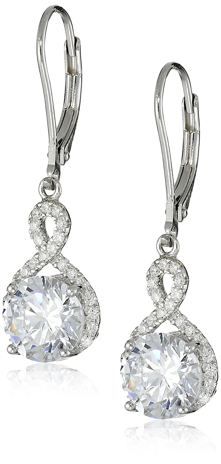 Sterling Silver 7mm Cubic Zirconia Infinity Leverback Dangle Earrings Amazon Collection E2307CZA