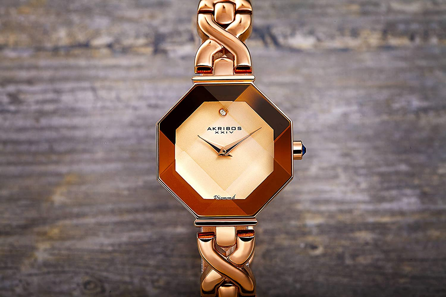 Akribos Octagonal Case Faceted Crystal Lens - Women's Watch - with Diamond Marker Adorned with Twisted Link Bracelet - AK1086 Rose Gold