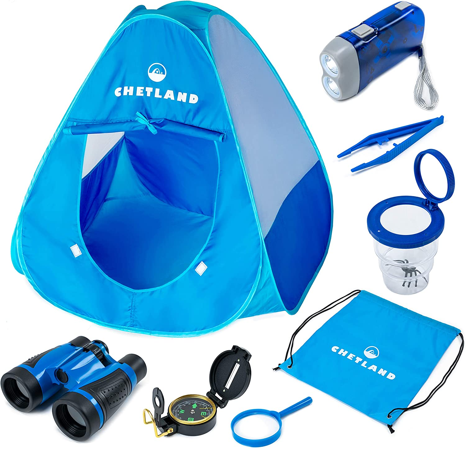 CHETLAND Kids Camping Set Toys Includes Pop Up Play Tent, Camping Gear Tools Adventure Gift Set for Boys and Girls - Blue/Blue
