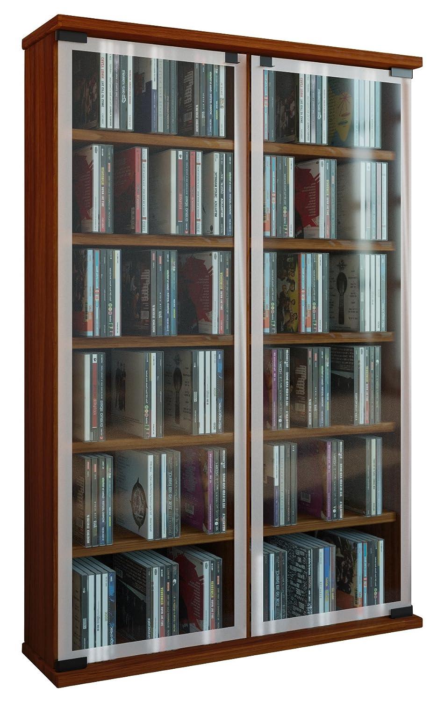 VCM 30054 Galerie Meuble CD-DVD pour 300 CDs Bois-Verre Coeur de Noyer 91 -5 x 60 x 18 cm