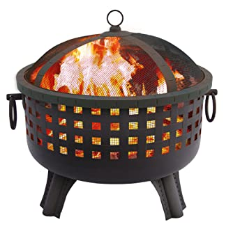 landmann 2312inch savannah garden light fire pit black