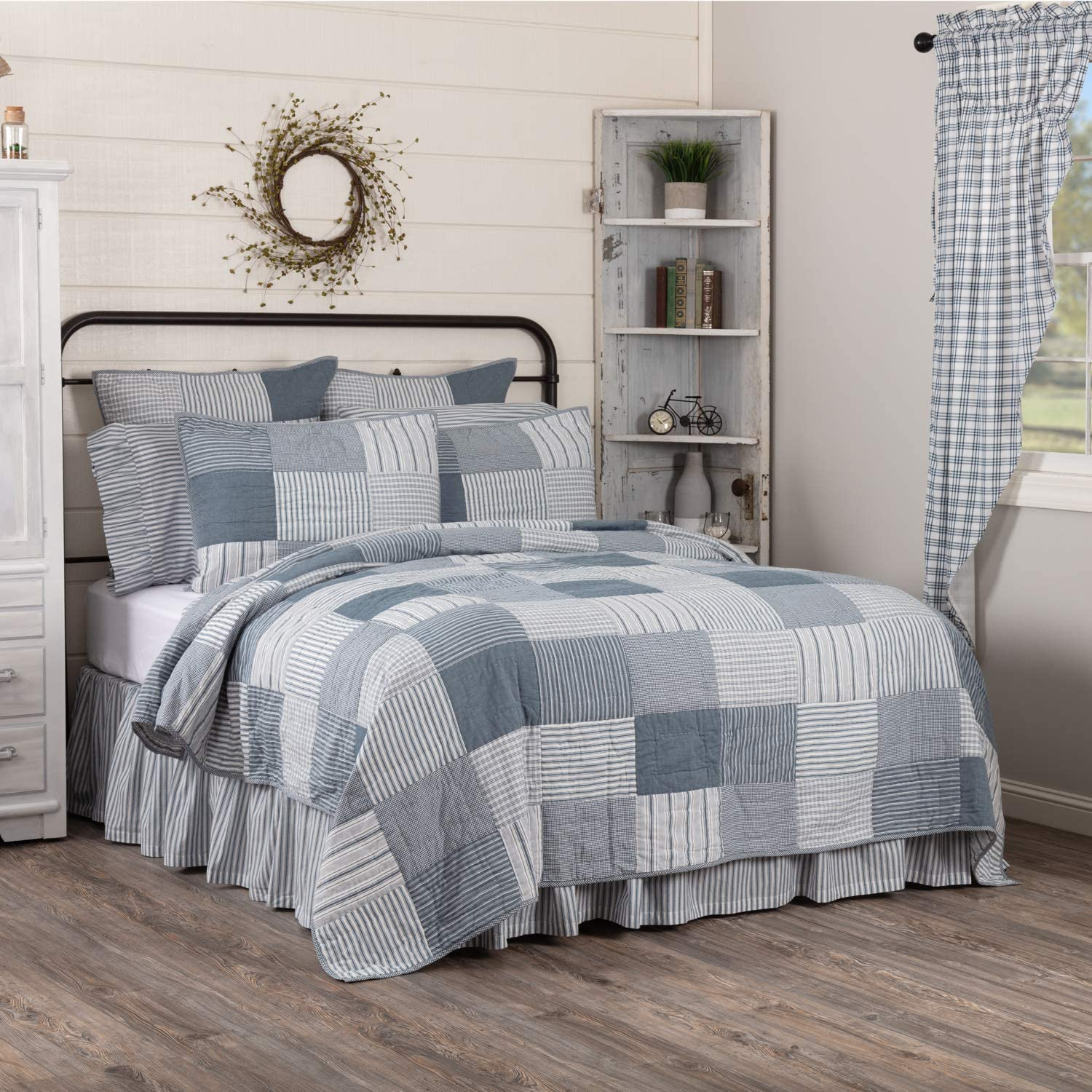 Amazon Com Vhc Brands Sawyer Mill Blue Farmhouse Patchwork Luxury Oversized King 100 Cotton Reversible Quilted Bedspread 120x105 Bedding Accessory Lux Home Kitchen