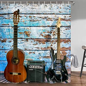 Guitar Shower Curtain, Guitar on Colorful Painted Aged Wooden Planks Rustic Country Music Bathroom Shower Curtain Decor, Fabric Shower Curtain Hooks Include, 72 X 72 Inches