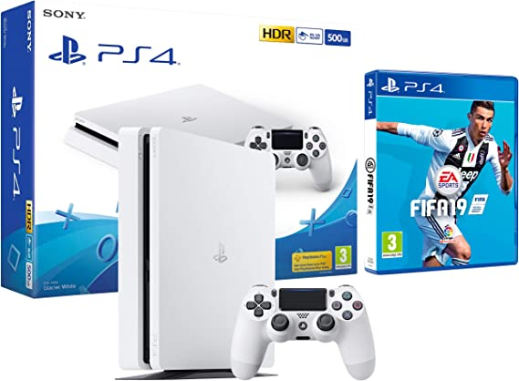PS4 Slim 500Gb Blanca Playstation 4 Consola + FIFA 19: Amazon.es ...