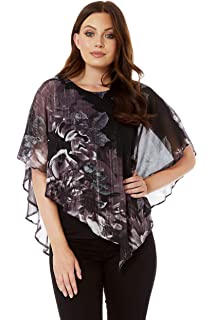 33493bfb004 Roman Originals Women's Floral Metallic Overlay Blouse Top - Ladies Fashion  Blouse for Formal Christmas Parties