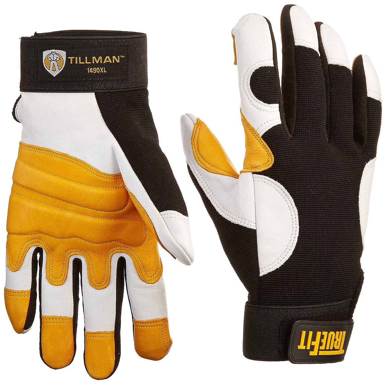Tillman leather work gloves - John Tillman And Co 1490xl Truefit Super Premium Full Finger Top Grain Goatskin And Spandex Mechanics Gloves With Elastic Cuff X Large Black Gold Pearl