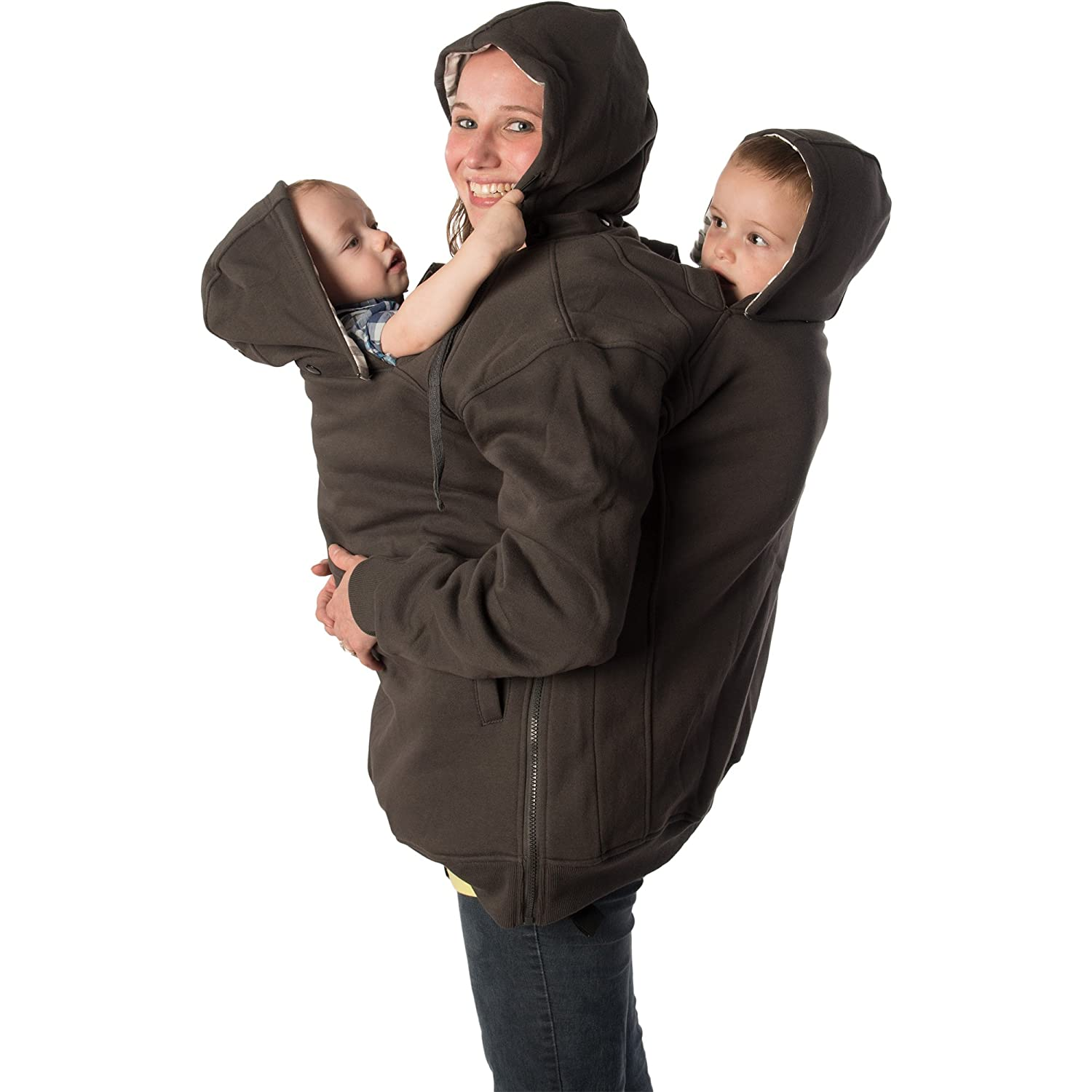 RooCoat Tandem Babywearing /& Maternity Coat Charcoal with Gray Stripes Small
