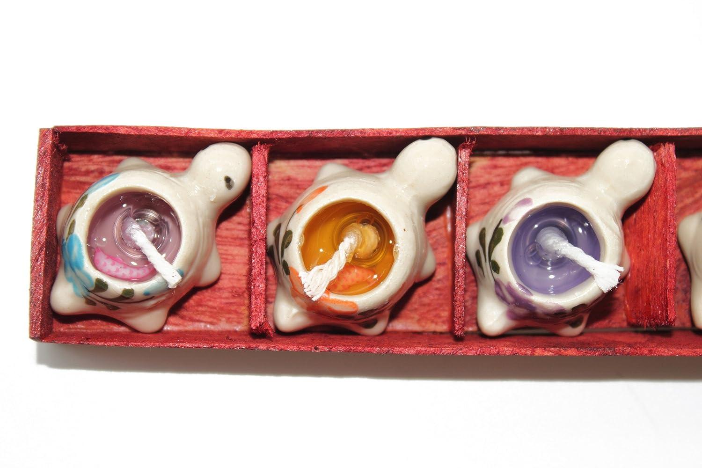 ハワイハンドプリントセラミックTurtleまたはHeart Candle Holder Set with 5 Scents One Size LIA-CD5TT B01DL0DGFG タートル One Size