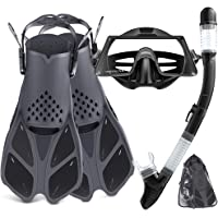 Tongtai Snorkeling Gear for Adults with Fins Mask Snorkel:Dry Top Snorkles Adults Set | Panoramic View Diving Mask…