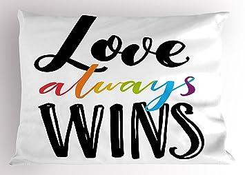 Ambesonne Orgullo decoración Pillow Sham, Love Siempre GANA ...