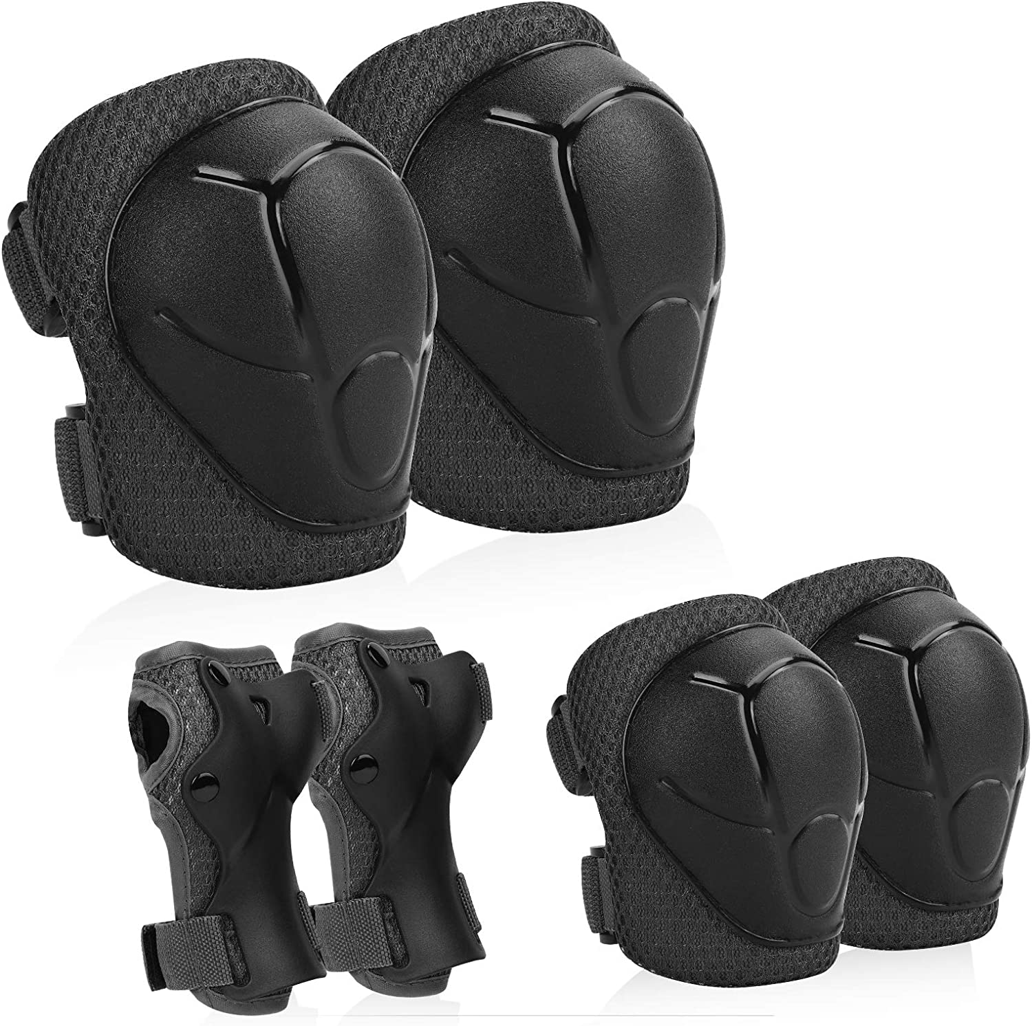 FESSKY Kids Protective Gear Set Adjustable Strap 6pcs Knee Pads and Elbow Pads with Wrist Guard for Skating Cycling Bike Rollerblading Scooter
