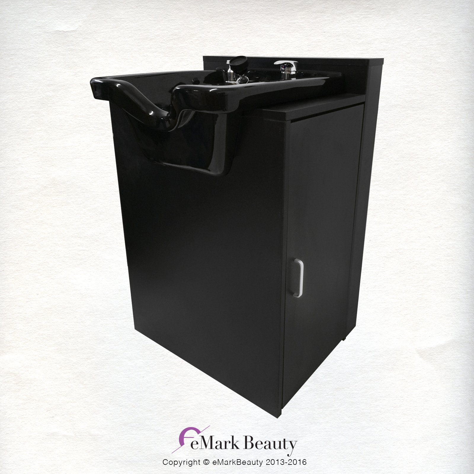 Salon Shampoo Square Bowl Spa Equipment Black Cabinet TLC-B11-FC by eMark Beauty