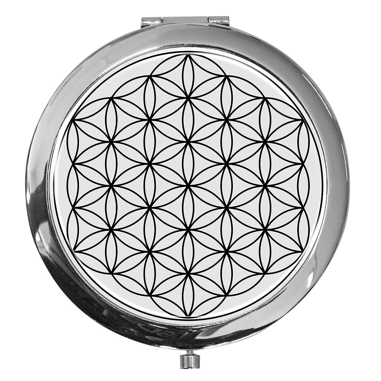 metALUm Premium - miroir de poche en métal chromé avec un motif de fleur de vie et une couche de résine synthétique noble et brillant - un accessoire idéal pour toute femme ou un cadeau