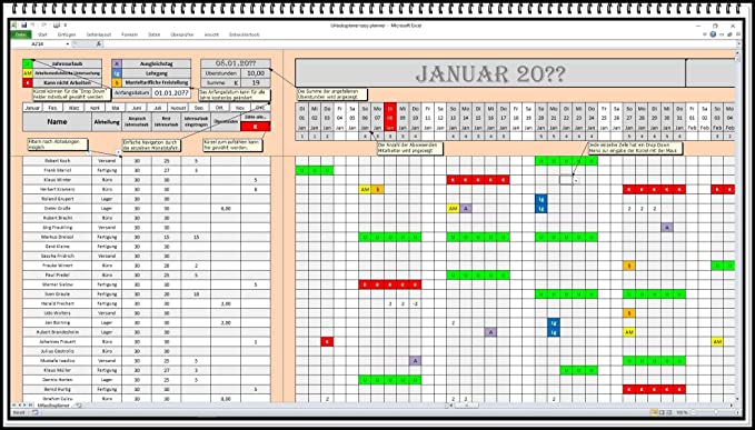 Personnel Planner Digital Planning Board Holiday Management Personnel Planning Software Excel Shift Plan Work Plan App Software Absence Planner Amazon De Burobedarf Schreibwaren