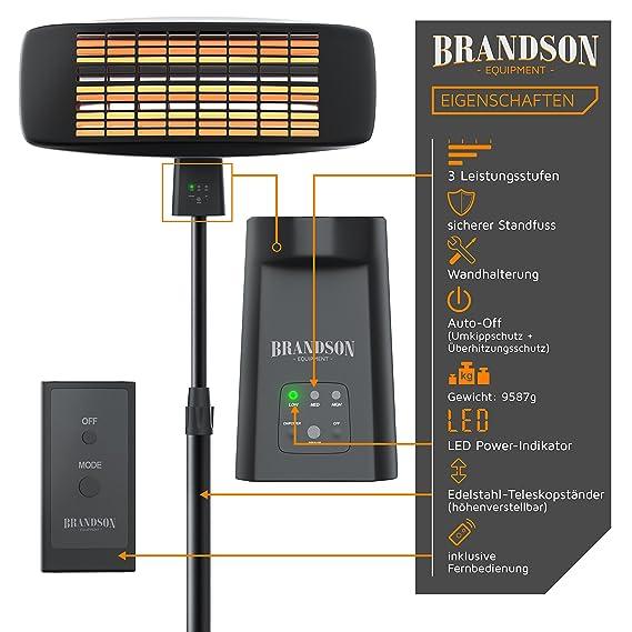 Estufa de seta con mando a distancia incluido de Brandson, con 3 niveles de potencia y elementos calefactores,indicador de funcionamiento LED, ...