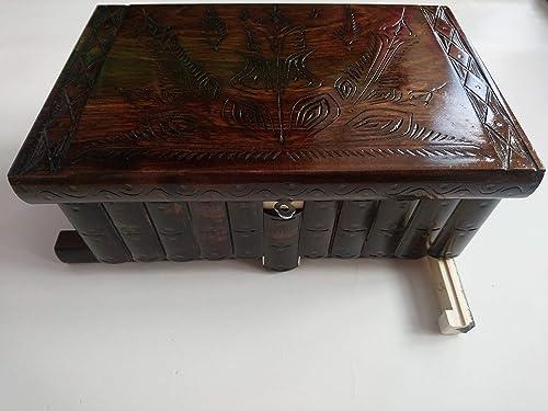 Gigante gran caja de puzzle rompecabezas de color marrón chocolate, caja mágica joyero tallado en madera con decoración de tesoro de almacenamiento secreto de clave oculta: Amazon.es: Handmade