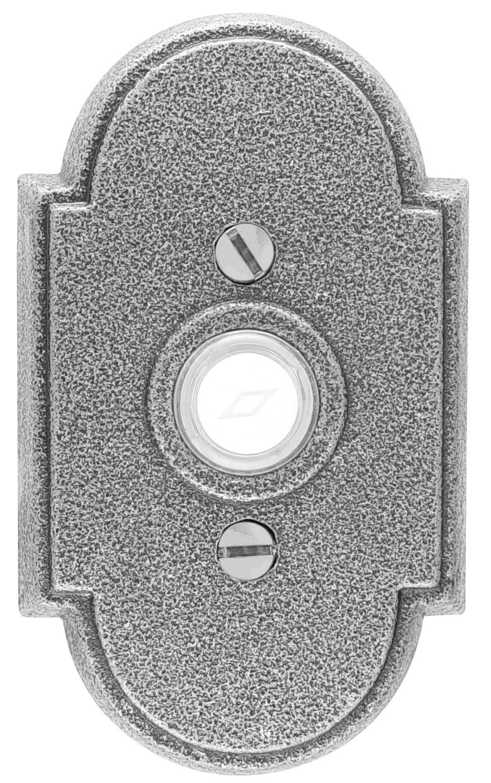 Emtek 2431 4-1/2'' Height #1 Style Steel Lighted Doorbell Rosette from the Wrough, Satin Steel