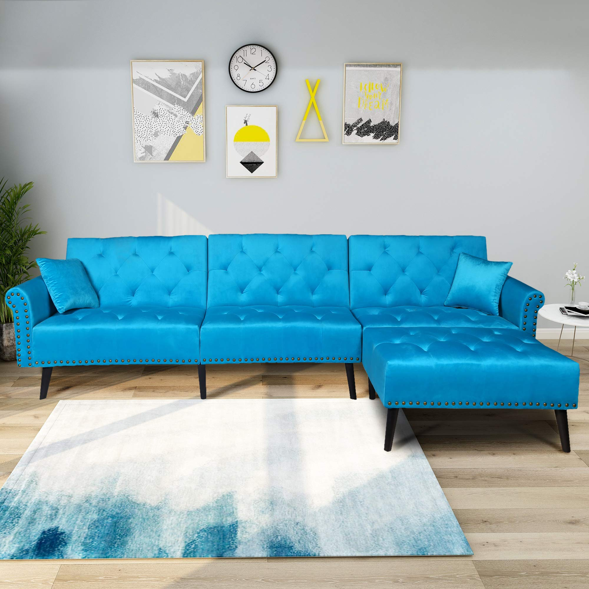 SEAPHY Modern Large Velvet Fabric Sectional Sofa L-Shaped Corner Couch Sofa Bed Set with Reversible Chaise Lounge for Living Room, 2 Pillows Included (Sky Blue) by SEAPHY