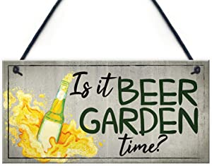 "Meijiafei Beer Signs Beer Garden Time Hanging Garden Shed Sign Wall Pub Bar Plaques Friendship Gifts 10"" X 5"""