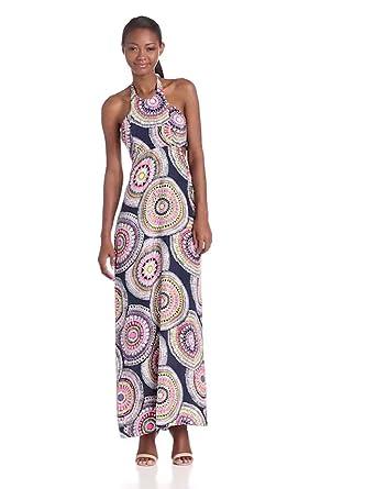 Alice & Trixie Women's Tiffany Silk Patio Pinwheel Cutout Halter Maxi Dress, Navy, Small