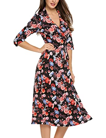 Image Unavailable. Image not available for. Color  ACEVOG Women s 3 4  Sleeve V Neck Floral Print Wrap Maxi Dress ... 0e51f52ea