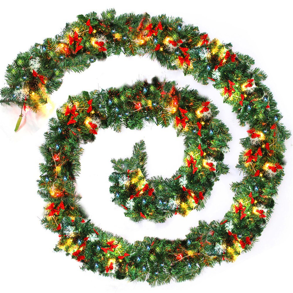9ft 270cm Plain Green Christmas Garland With Warm White Led Light Artificial Wreath Fireplace Xmas Tree Decoration
