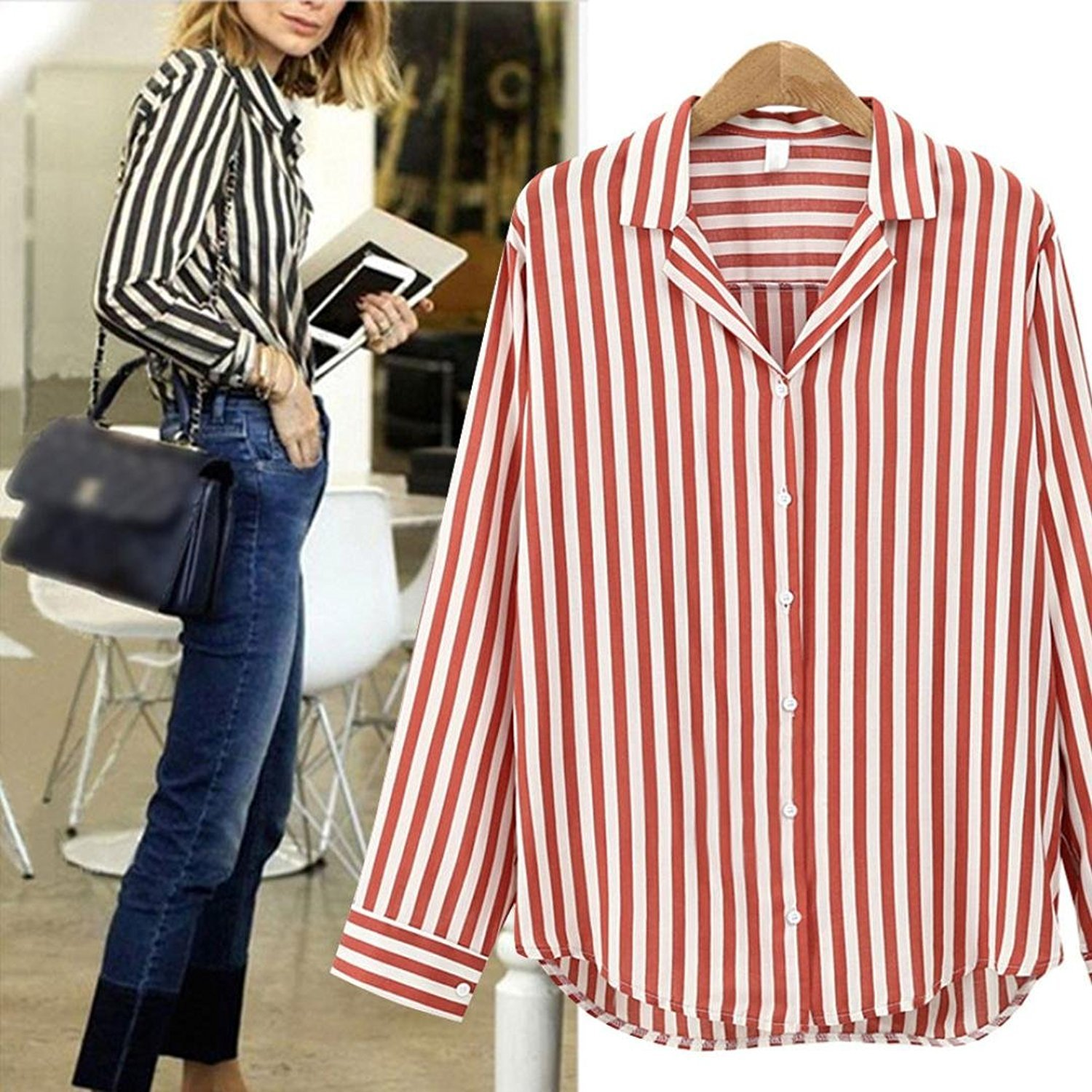 Autumn& Winter Clothing, Fulltime(TM) Women Casual Striped Loose Business Long Sleeve Shirt HCM70914172