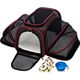 Expandable Pet Cat Carrier for Small Dogs and Cats - Soft Sided Crate - Airline Approved Medium Kennel Travel Bag - Fits Under or on Top of Seat - 2.8 lbs Dog Carriers with Bonus Blanket & Bowl