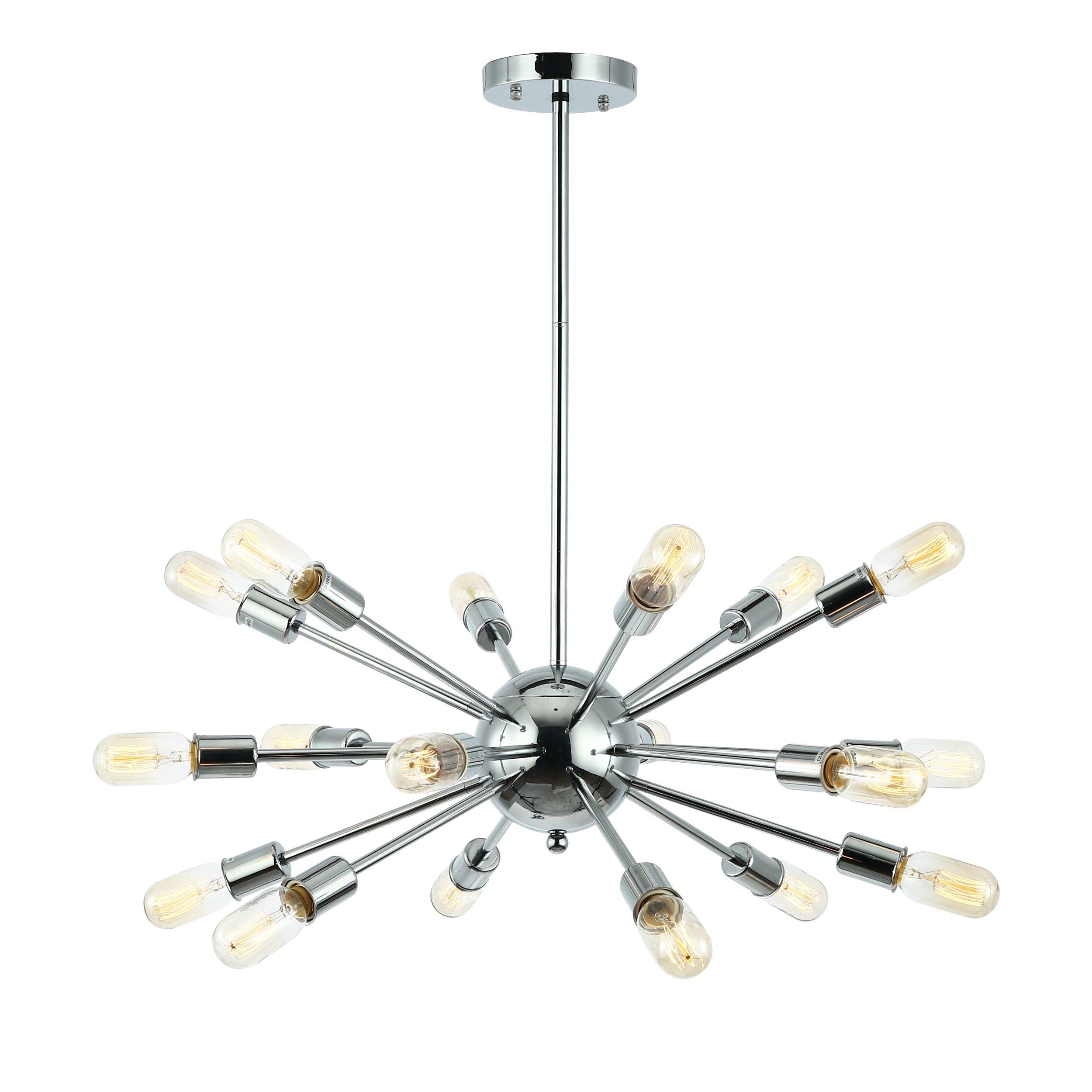 Light Society Sputnik 18-Light Chandelier Pendant, Chrome, Mid Century Modern Industrial Starburst-Style Lighting Fixture (LS-C115-CRM)