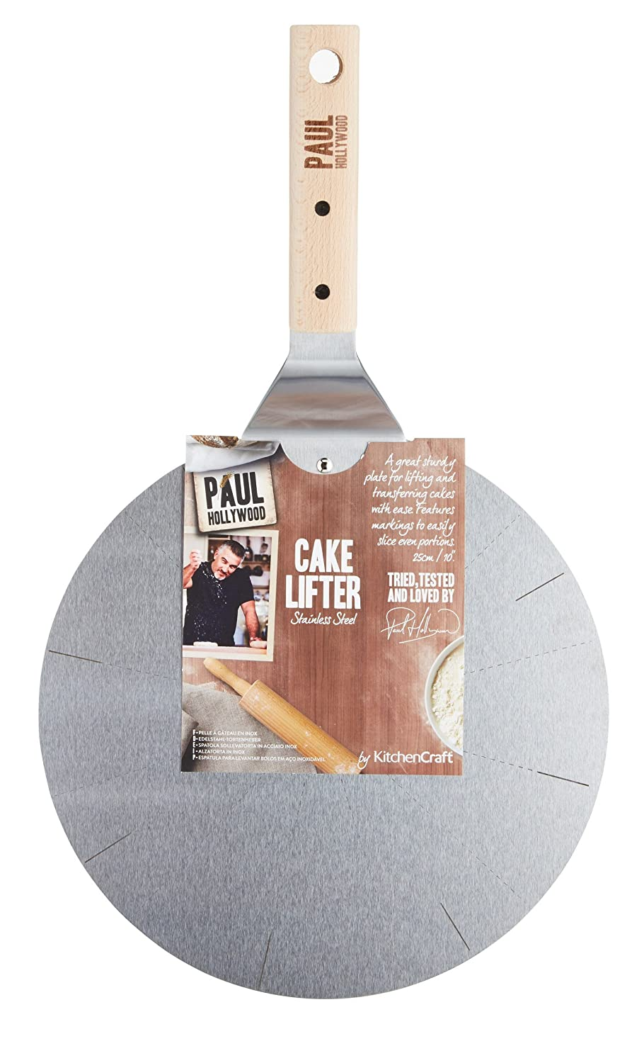 25 cm 10 KitchenCraft Paul Hollywood Stainless Steel Cake Lifter with Cutting Guide