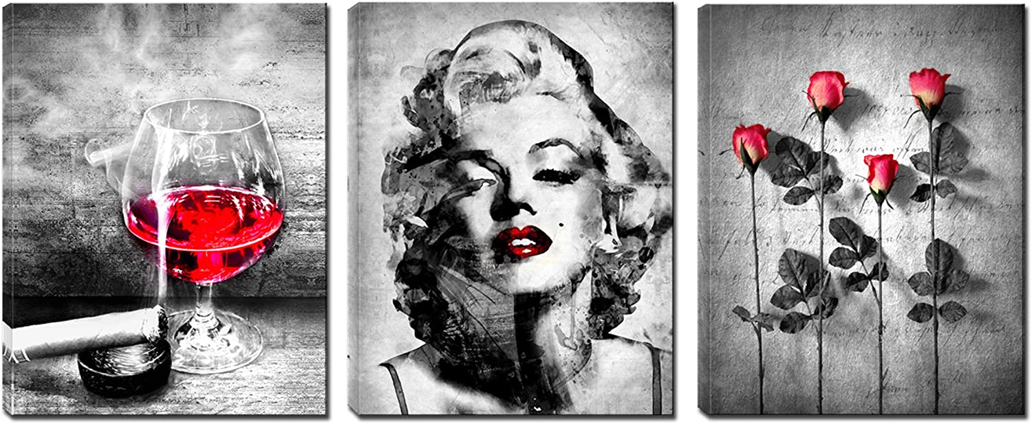 3 Panels Gray Red Marilyn Monroe Canvas Wall Art - Picture Painting for Bedroom - Ready to Hang for Living Room Office