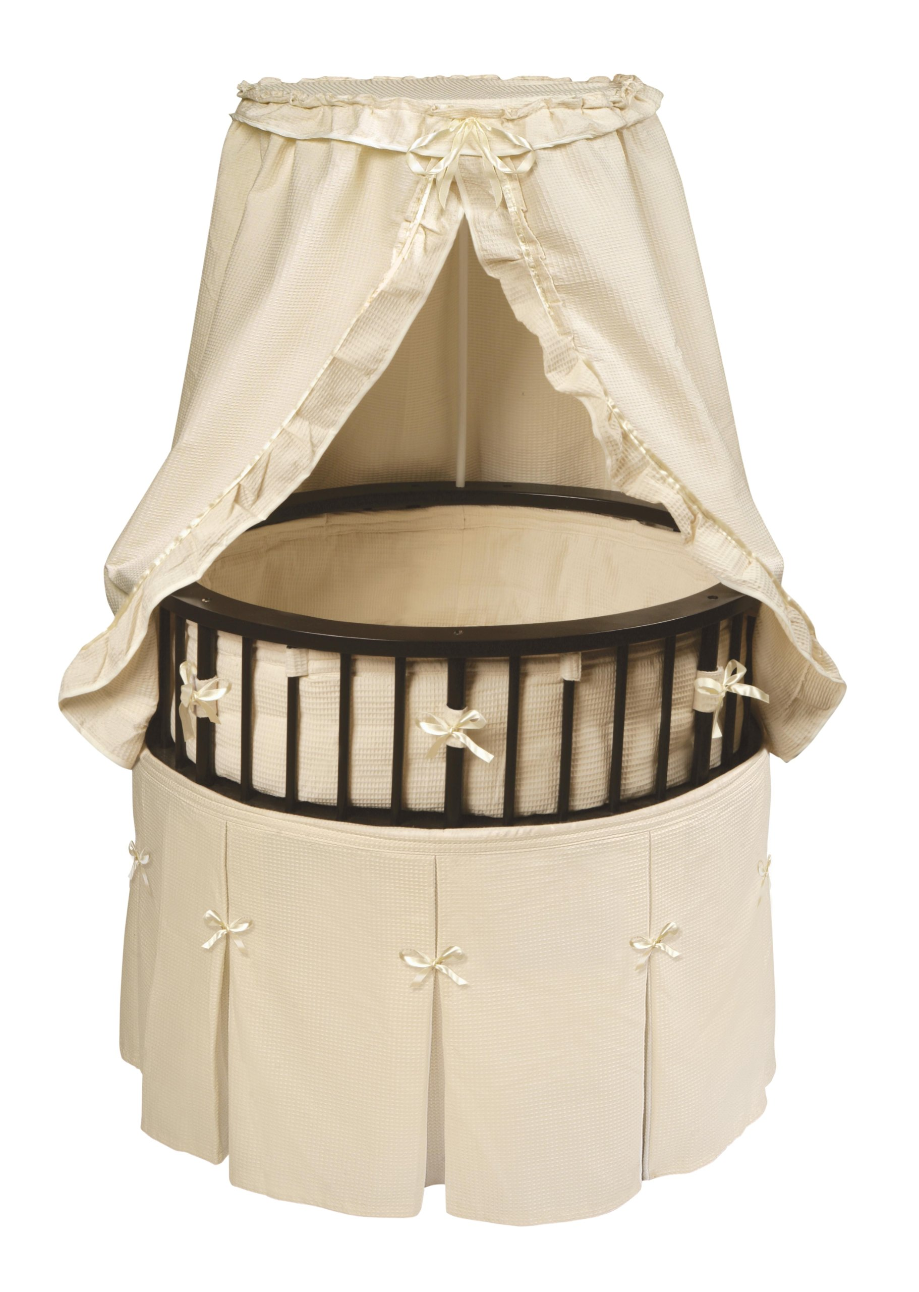 Badger Basket Elite Oval Bassinet with Waffle Bedding, Espresso/Ecru by Badger Basket