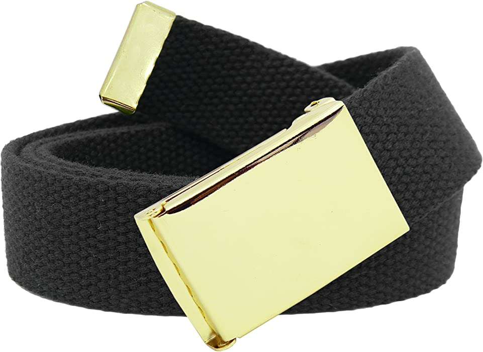 Men s Gold Military Flip Top Belt Buckle with Canvas Web Belt Small Black 4f4338421bc2
