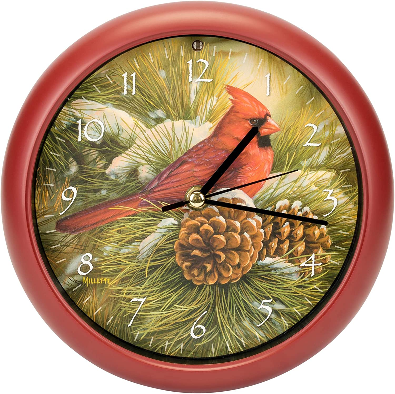 Mark Feldstein & Associates Wild Wings December Dawn Cardinal Round Red Frame 8 Inch Bird Sound Wall Clock