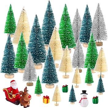 Lovely 12pcs Mini Green Sisal Bottle Brush CHRISTMAS TREES Snow Frost Village