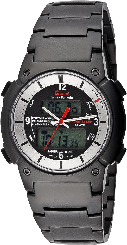 Ruhla Funkuhr Garde FU Business-Alarm 6-16DM - Titan und Saphirglas