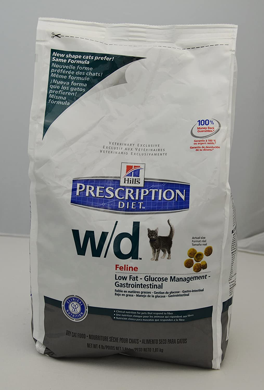 Hills Diet w/d Feline Low Fat-Gastrointestinal Health Cat Food 4lb Bag