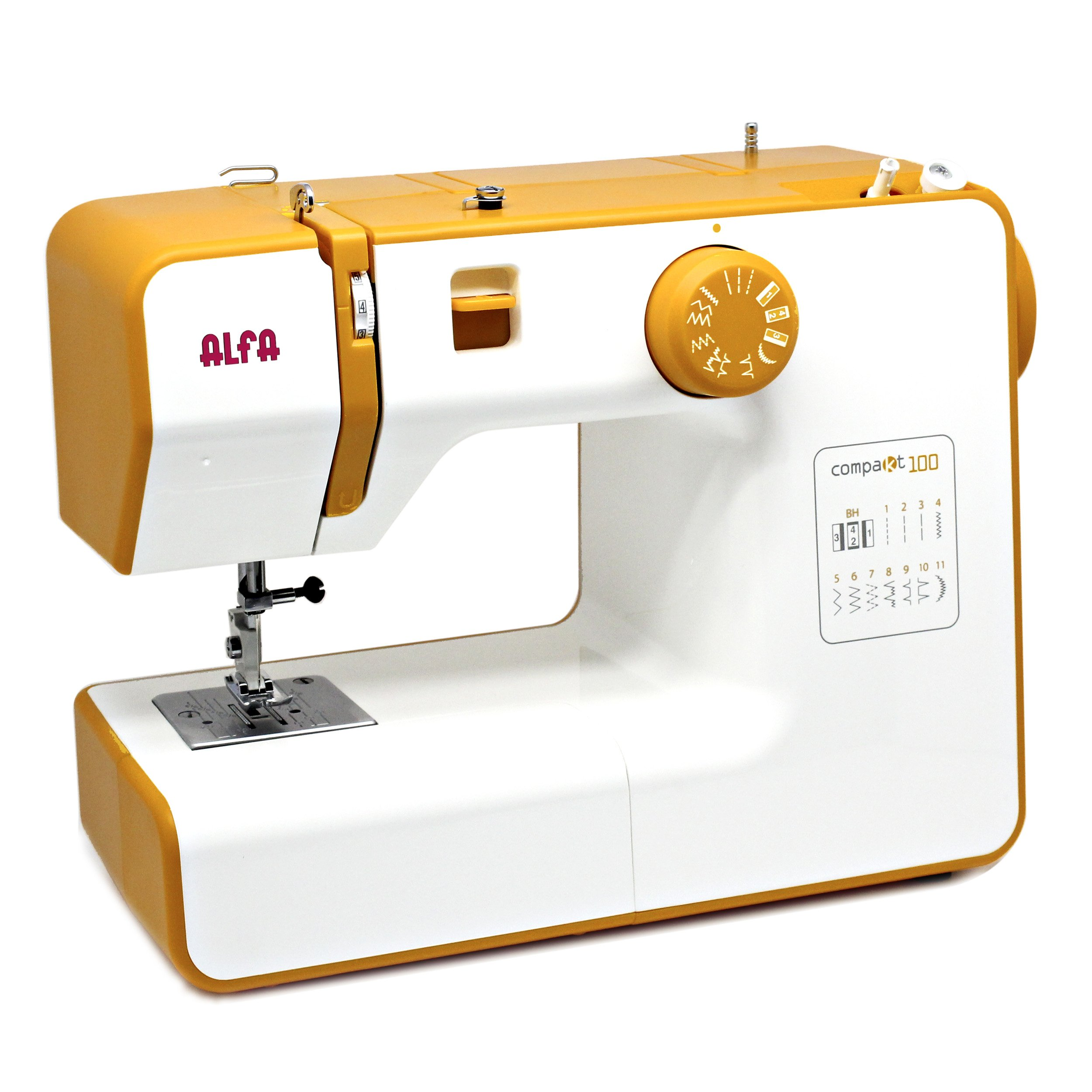 Alfa COMPAKT 100 - Máquina de coser compacta y portátil, color amarillo product image