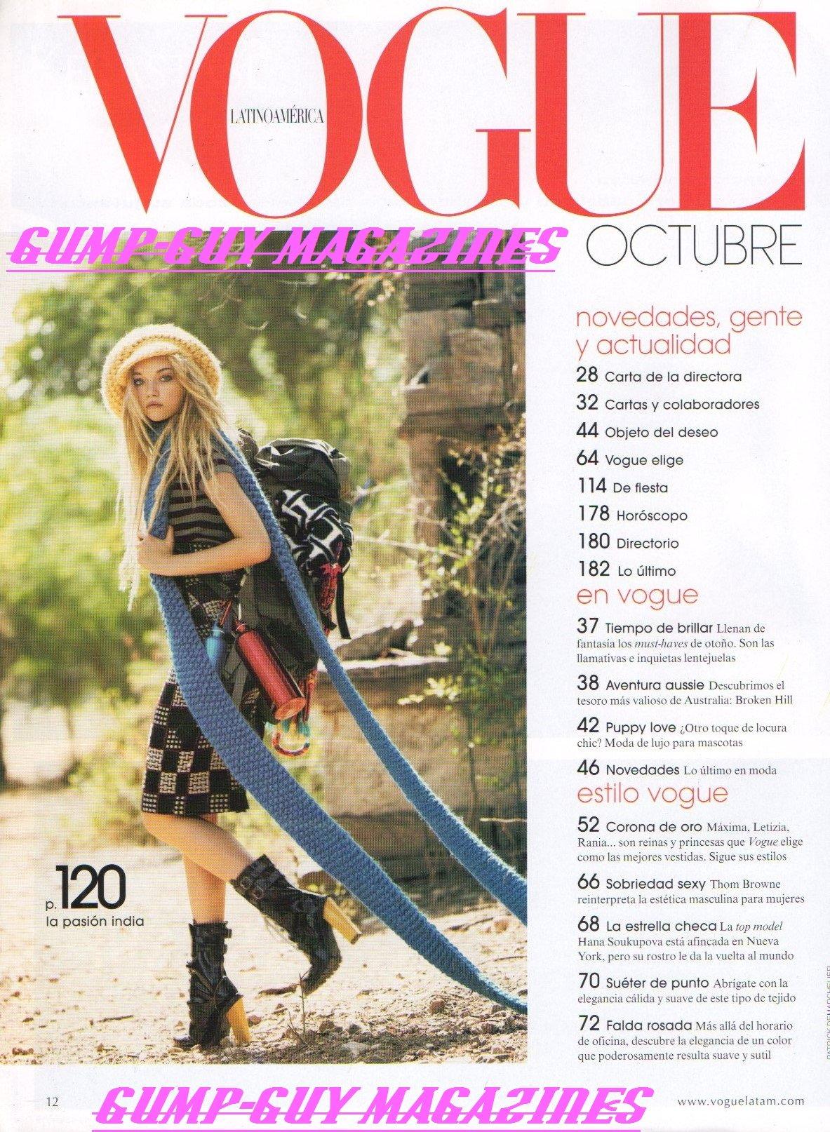 Vogue Latino America Magazine Octubre 2007 HANA SOUKUPOVA RELOJES HOY... + EL TRENCH SE MODERNIZA EXCLUSIVA DESDE PARIS LA MUSA DE KARL LAGERFELD LAS REINAS ...