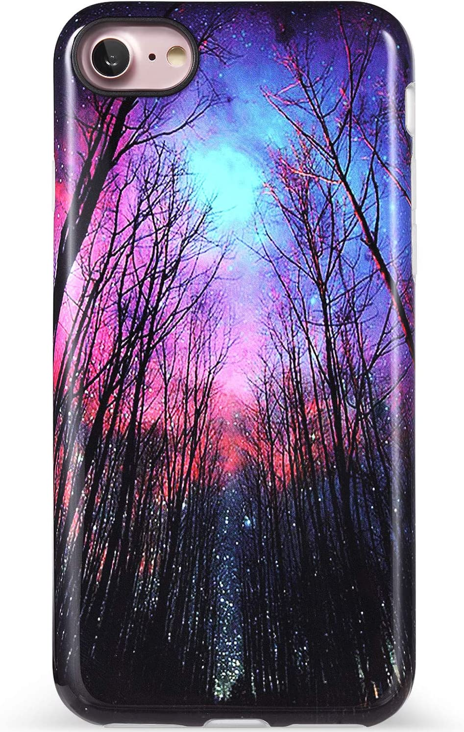 VIVIBIN iPhone SE 2020 Case,iPhone 8 Case,iPhone 7 Case,Trees Starry Night Design Clear Bumper Soft TPU Cover Slim Fit Protective Phone Case for iPhone 7/iPhone 8/New iPhone SE