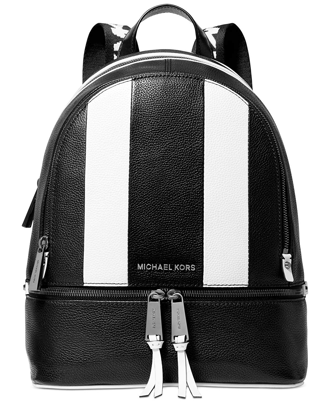 MICHAEL Michael Kors Rhea Backpack (Black Optic White Gunmetal)