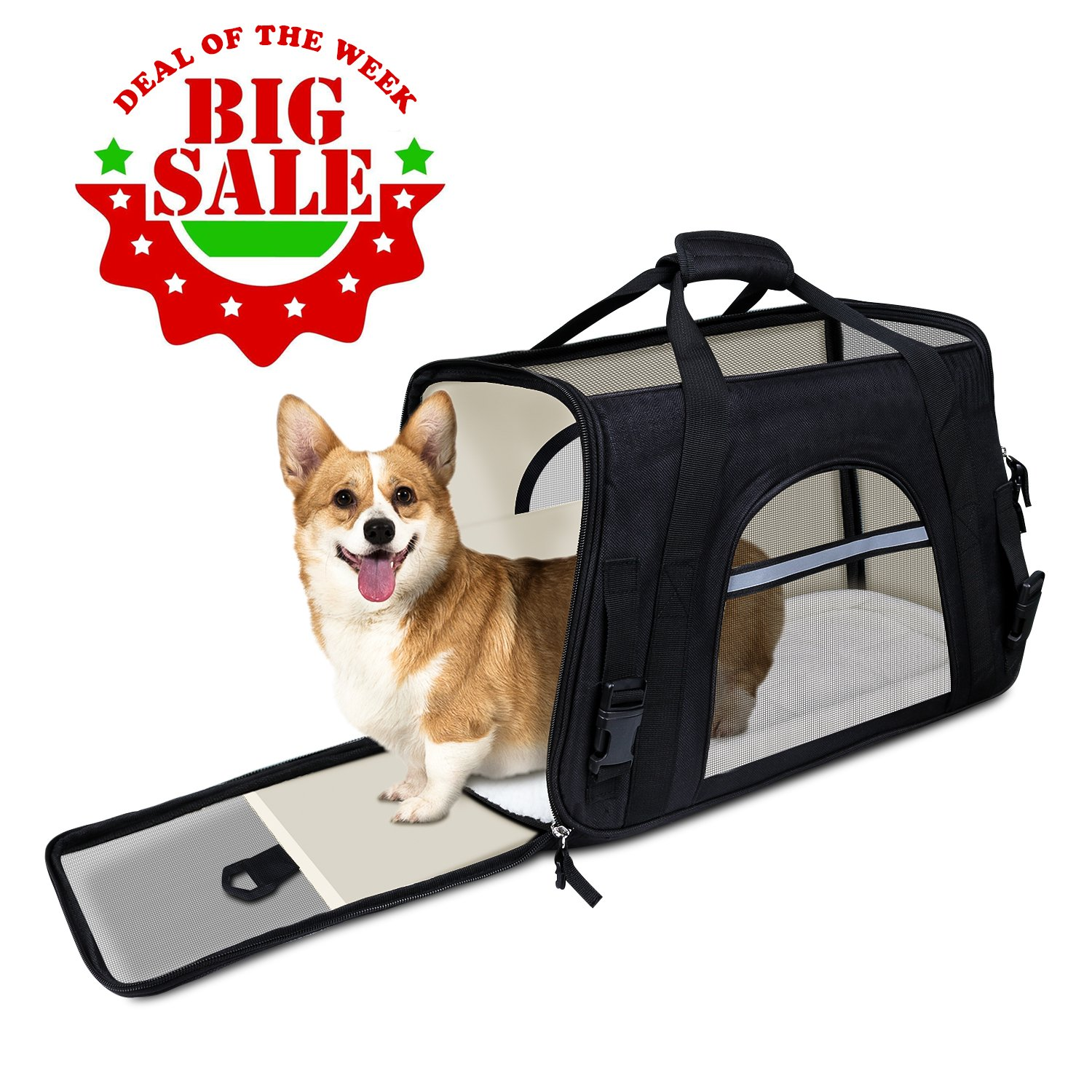 GDPETS Pet Carrier, Airline Approved Cat Carrier Bag Small& Medium Sized Animal, Soft-Sided Pet Travel Tote Fleece Bed, Portable Dog Carriers Hold Up to (10lbs) Fit Under Seats